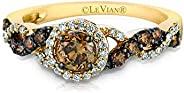 LeVian 14K 黄金 3/4 Cttw 白色/巧克力钻石光环交叉编织戒指时尚戒指(G-H 和花式棕色,VS2-SI1 净度)