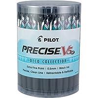 PILOT Precise V5 RT 可填充和可伸缩液体墨水滚动圆珠笔,超细笔尖(0.5 毫米),黑色墨水,48 支装 (8034)