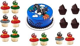 龙幻想蛋糕装饰加 24 龙纸杯蛋糕插牌加 24 个烘焙杯衬垫,畅销