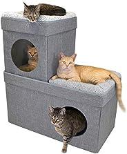 KitchenAid 凯膳怡 Kitty City 大号可堆叠棕褐色猫公寓,猫窝立方体,猫屋,弹出式床,猫猫 Ottoman