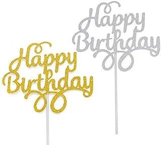 Timoo 12 件生日快乐蛋糕装饰金银蛋糕装饰用品