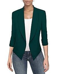 Hybrid & Company 女式休闲工作办公室前开襟夹克,带可拆卸肩垫,美国制造