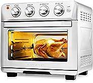 Ovente 不銹鋼多功能空氣炸鍋烤面包機烤箱組合 26 夸脫 帶配件,1700 瓦臺面烤肉機對流烤箱和脫水器,適用于雞比薩蔬菜,銀色 OFM2025BR