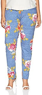 SLIM-SATION 女式加大码花卉印花及踝打底裤