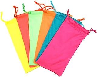 12 件霓虹彩色抽绳眼镜超细纤维软袋保护套