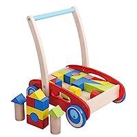 Pidoko 儿童积木推车木制推拉婴儿学步车,红色