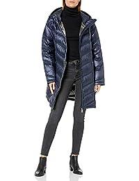 Calvin Klein 女士 CW412047L 轻便易携带连帽长款羽绒服外套