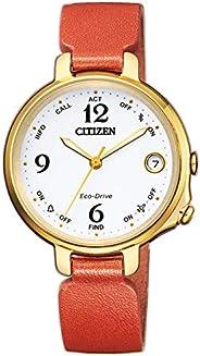 Citizen 西鐵城 女士模擬數字太陽能手表帶皮革表帶 EE4012-10A