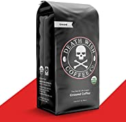 DEATH WISH COFFEE 深度烘焙咖啡研磨 [16 盎司(约 453.6 克)] 世界上*强劲的咖啡,USDA *认证,公平贸易,阿拉比卡,Robusta(1 件装)