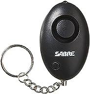 SABRE 个人自卫*报警钥匙环带 LOUD 双报警器可加热至 500 英尺/150 米。 使用时,请从底部拉动金属链