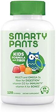 SmartyPants 儿童纤维每日复合维生素软糖:包含用于吸收的纤维,维生素C,D3和有益于机体的锌,Omega 3 鱼油(EPA和DHA),B6,甲基B12,120粒(30天供应)