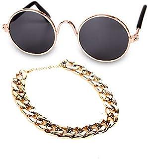 globalwareback 宠物时尚珠宝套装太阳镜狗项链猫用品组合套装酷炫必备品