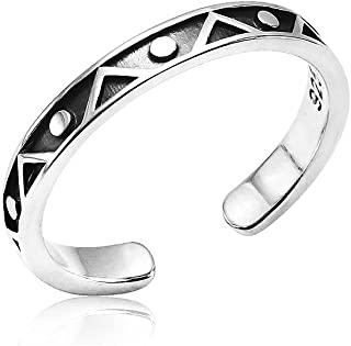 Silverline Jewelry - 925 纯银圆点和三角形 Geo 波西米亚可调节露趾戒指