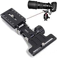 iShoot 金屬可折疊長焦鏡頭支架,可伸縮遠攝變焦鏡頭支架卡口保護器帶相機快速釋放板兼容 Arca-Swiss Fit 三腳架頭夾