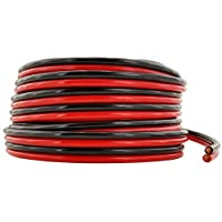 GS Power Flexible 10 AWG(美国线规)50 英尺绞合无氧铜红色/黑色粘合拉链线缆汽车音频立体声放大器 12 伏汽车线束 LED 灯线