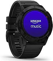 Garmin 佳明 fēnix 6X Pro,Ultimate多功能GPS运动手表,带有地图,音乐,级别可调整的步速监测和Pulse Ox 血氧感测系统,Black with Black Band,L