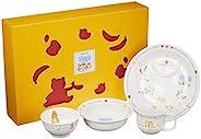 NARUMI 鸣海 儿童用 餐具组合装 大家一起用餐吧!4个组合装 微波炉&烤箱可用 日本制造 40433-3