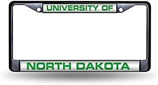 NCAA Rico Industries 激光切割镶嵌标准镀铬车牌架,北达科他州格斗鹰