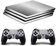 Adventure Games - 银色、拉丝铝 - 乙烯基控制台皮肤贴花贴纸 + 2 个控制器皮肤套装 - 兼容 PS4 PRO