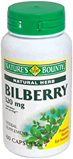Nature's Bounty Natural Herb Bilberry, 80mg, 60 Capsules