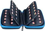 Butterfox 80 Switch 游戏保护套,适用于 Nintendo Switch 任天堂 Switch 游戏卡存储夹或 SD 存储卡盒 - 黑色/蓝色
