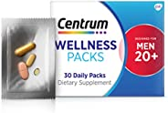 Centrum 善存 Wellness Packs 20 岁男士每日维生素,含完整的多种维生素,维生素B复合物,维生素D3 25微克,姜黄复合物 - 30包/1个月用量