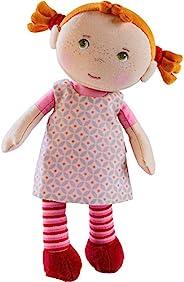 HABA Snug Up Roya - 10 英寸軟娃娃帶毛絨紅色豬尾巴,繡花面和可拆粉色連衣裙(可機洗)適合 18 個月以上兒童