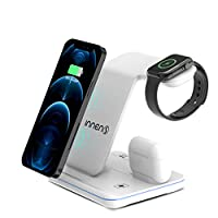 Venoro 兼容 iPhone 無線充電站,3 合 1 快速無線充電器站支架,適用于 iPhone 12 Pro/12 mini/12/iPhone 11/11 Pro/11 Pro Max/X/8/8Plus,Apple iWatch S1/2/3/4/5/6(白色)