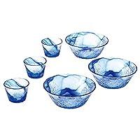 Toyo sasaki 東洋佐佐木玻璃 流蒼 日本制造 可應對洗碗機 玻璃碗 藍色 (中鉢)φ19×7cm (つゆ鉢)φ9.2×6.5cm G097-B71