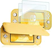 ProCase Nintendo Switch Lite 翻盖保护套,带 2 件装钢化玻璃屏幕保护膜,超薄保护翻盖保护套,带磁性可拆卸前盖,适用于 Nintendo Switch Lite 2019 - 黄色
