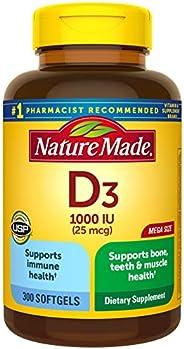 Nature Made 维生素D3 软胶囊,300粒,维生素D 1000 IU(25 mcg),帮助支持机体抵抗能力,强健的骨头,牙齿以及肌肉功能,仅一天一次的软胶囊中的维生素D每日价值为125%