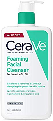 CeraVe 泡沫潔面乳| 油性皮膚的日常洗面奶 無香料| 19液體盎司/562毫升