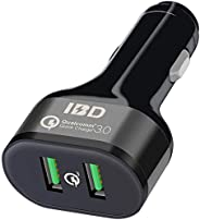 IBD307-Q3 车载充电器,快速充电 3.0 36W,双 USB 车载充电器适配器,兼容 iPhone 11/XR/X/8 Plus/7 Plus/6s、Galaxy S10/S9/S8、Note 9、LG、华为等