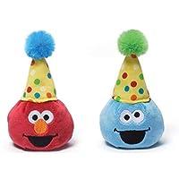 Gund Sesame Street 3.5 英寸生日豆袋伙伴 1 Elmo and 1 Cookie Monster
