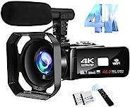 4K 攝像機攝像機 48MP 圖像視頻博客相機帶 Wi-Fi 視頻相機,適用于 YouTube 帶麥克風、遙控器和觸摸屏