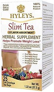 Hyleys Slim 5 Flavor Assortment 25 Tea Bags (100% Natural, Sugar Free, Gluten Free and Non GMO)