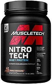 乳清蛋白粉 | MuscletTech Nitro-Tech Nitro-Tech 乳清蛋白质 | 乳清分离物和肽蛋白粉 | 男士和女性肌肉生成器 | 肌肉增益的精益蛋白粉 | 巧克力,1.5 磅(15 服)