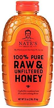 Nature Nate's 未加工,未过滤的纯净蜂蜜,32盎司,0.91千克挤压瓶;天然甜味剂,