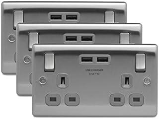 3 x BG NBS22U3G 双头 13A 开关插座带 USB 插座(拉丝钢/绸缎铬)