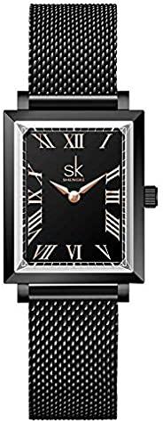 SK 独特方形手表女士不锈钢网眼表带真皮优雅矩形女士手表