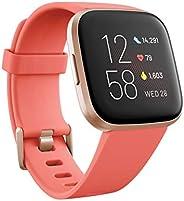 Fitbit 中性款 Versa 2 *健身智能手表 带语音控制 *得分和音乐 花朵 带Alexa 内置 One