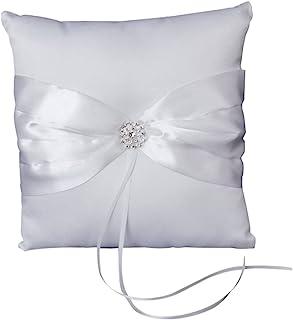 ULTNICE 缎面结婚戒指靠垫枕头轴承白色丝带水钻 1010 厘米