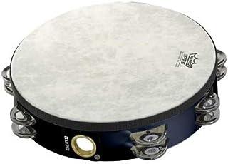 Remo Tambourine, Pretuned, 10 Diameter, 8 Pairs Jingles x 2 Rows, QUADURA Black
