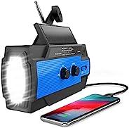 (2020 *版)应急太阳能手摇收音机,NOAA 天气收音机支持 AM/FM/WB,带 LED 手电筒,阅读灯,4000mAh 移动电源USB充电器,家庭SOS报警,户外(蓝色)