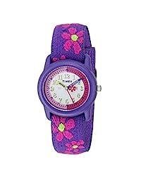 Timex Unisex-Kids Children's Time Teacher Flowers Stretch Band WatchT89022 Analog Elastic Fabric 紫色 T890229J watches