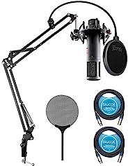 sE Electronics sE2200 大振膜電容麥克風,適用于人聲、聲學/電吉他、鼓頭頂束帶 Blucoil Boom Arm Plus 流行過濾器,2 包 10 英尺(約 25.4 米)平衡 XLR 電纜