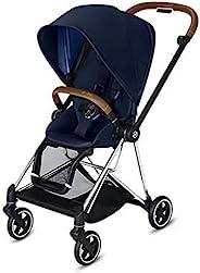 CYBEX Mios 2 完整婴儿车,单手折叠,可翻转座椅,平稳骑行全轮悬架,额外存储空间,可调节腿托,带铬/棕色框架,靛蓝色座椅