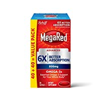 Schiff MegaRed Advanced 6X Absorption Omega-3 鱼油软胶囊(一盒80粒),800mg,包装可能有所不同