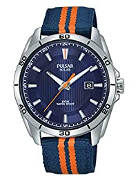 Pulsar 男士模拟太阳能手表带尼龙表带PX3175X1