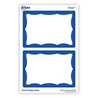 "Avery Name Badge Labels with Blue Border, 2-11/32"" x 3-3/8"", 100 Labels Per Pack, 6 Packs (44144)"